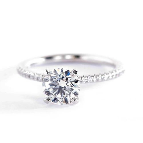 1.15 Carats SI2 F French Round Cut Diamond Engagement Ring Platinum
