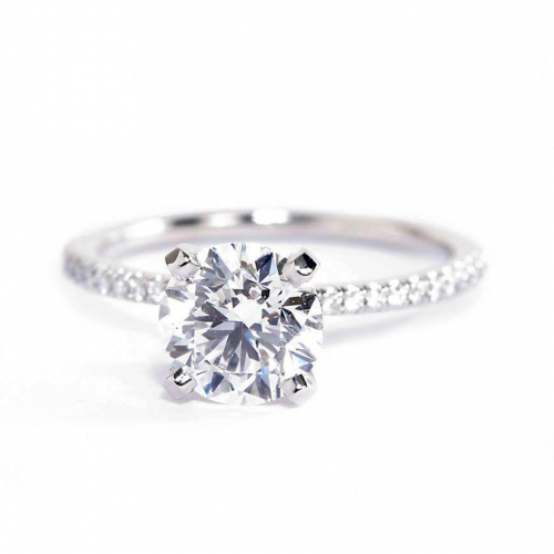 1.25 Carats SI2 F French Round Cut Diamond Engagement Ring Platinum