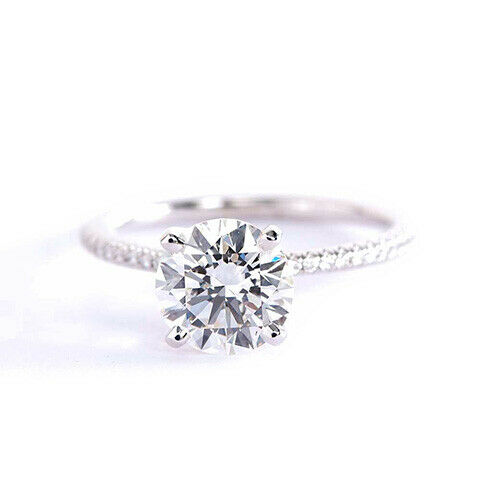 1.25 Carats VS2 H French Round Cut Diamond Engagement Ring Platinum
