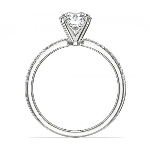 1.25 Carats VS2 H French Round Cut Diamond Engagement Ring Platinum