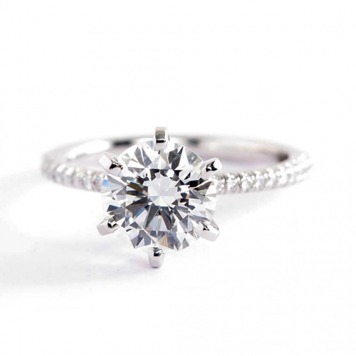 1.75 Carats VS2 F French Round Cut Diamond Engagement Ring 18K White Gold