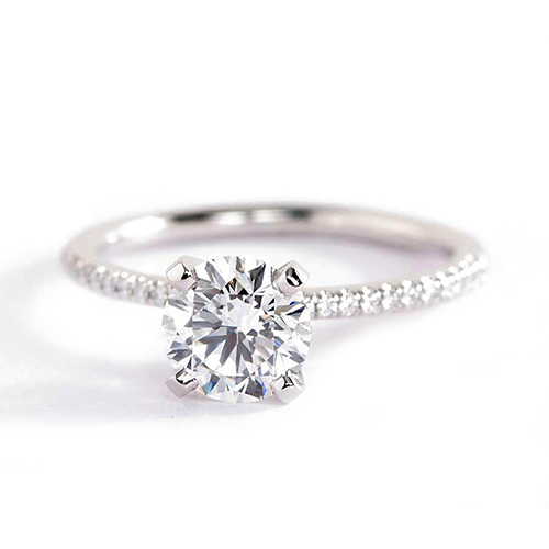 1.15 Carats SI2 H French Round Cut Diamond Engagement Ring 18K White Gold