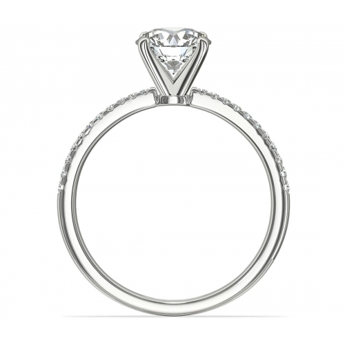 GIA Cert 1.15 Cts VS2 F French Round Diamond Engagement Ring 18K White Gold