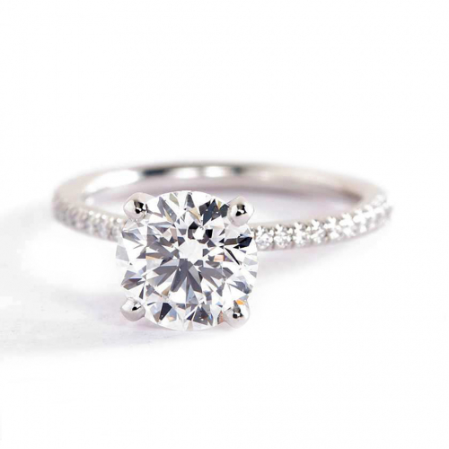 1.75 Carats SI2 H French Round Cut Diamond Engagement Ring 18K White Gold