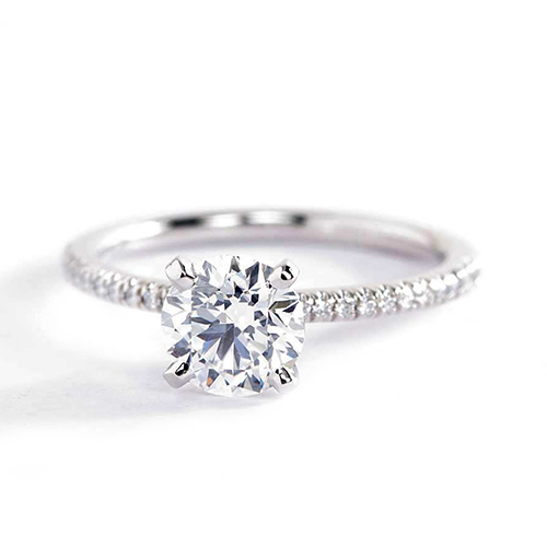 1.15 Carats SI2 D French Round Cut Diamond Engagement Ring 18K White Gold