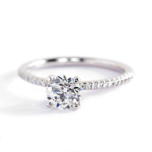 0.55 Carat VS2 F French Round Cut Diamond Engagement Ring 18K White Gold