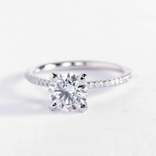 1.15 Carats VS2 D French Round Cut Diamond Engagement Ring 18K White Gold