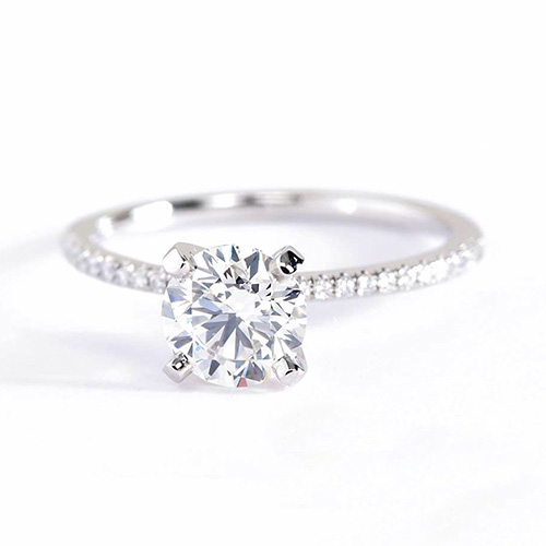 0.75 Carat VS2 F French Round Cut Diamond Engagement Ring 18K White Gold