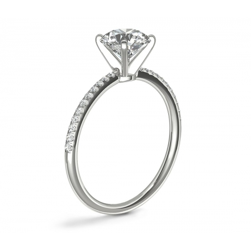 0.75 Carat VS2 F French Round Cut Diamond Engagement Ring 18K White Gold