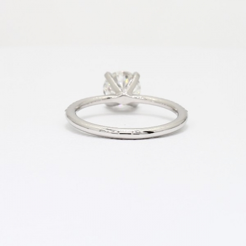 1.75 Carats SI2 D French Round Cut Diamond Engagement Ring 18K White Gold