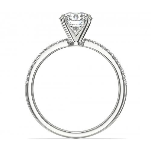 0.55 Carat VS2 F French Round Cut Diamond Engagement Ring 18K White Gold