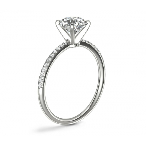 1.15 Carats VS2 H French Round Cut Diamond Engagement Ring 18K White Gold