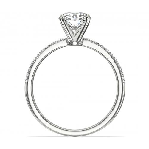 0.95 Carat SI2 H French Round Cut Diamond Engagement Ring 18K White Gold
