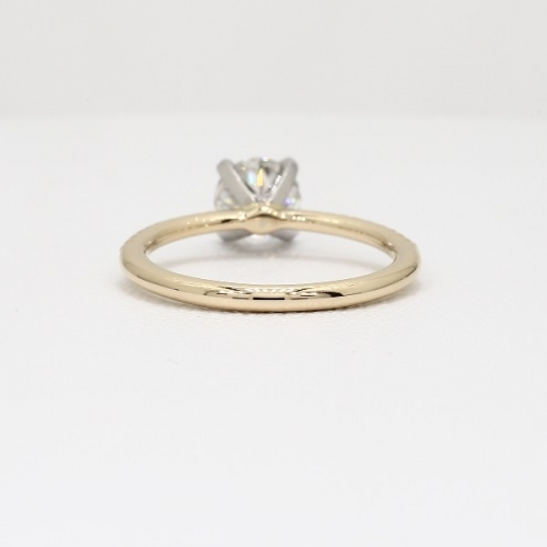 GIA Cert 0.75 Ct SI2 F French Round Diamond Engagement Ring 18K Yellow Gold