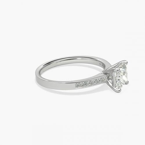 0.8 Carat SI2 F Channel Princess Cut Diamond Engagement Ring Platinum