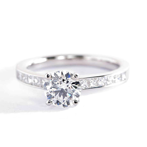 0.8 Carat VS2 F Channel Round Brilliant Cut Diamond Engagement Ring Platinum