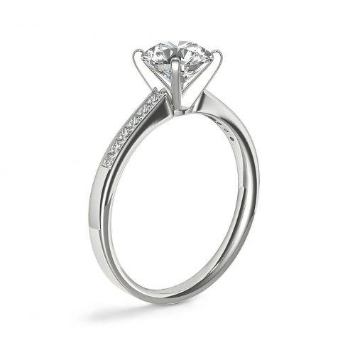 1.8 Carats SI2 D Channel Round Cut Diamond Engagement Ring 18K White Gold