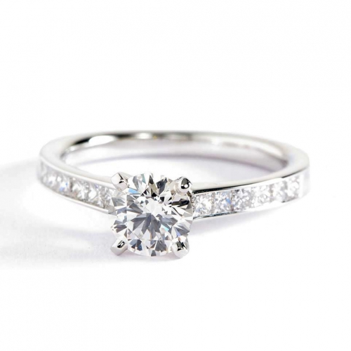 0.8 Carat SI2 H Channel Round Cut Diamond Engagement Ring 18K White Gold