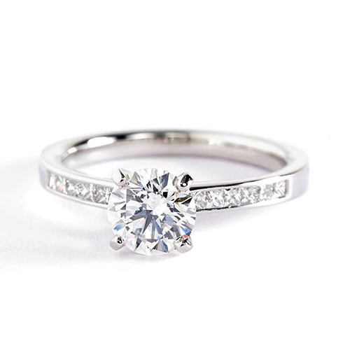 1 Carats SI2 F Channel Round Cut Diamond Engagement Ring 18K White Gold