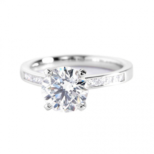 1.8 Carats SI2 F Channel Round Cut Diamond Engagement Ring 18K White Gold