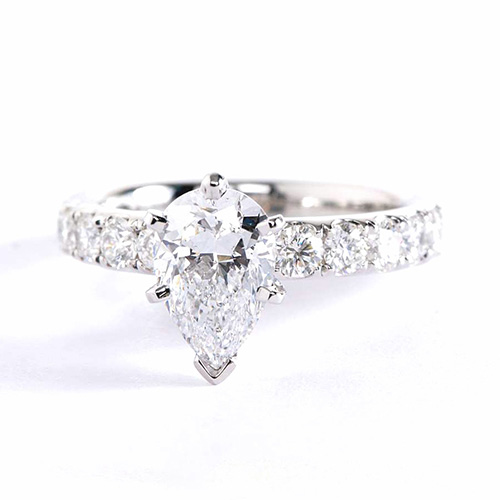 1.65 Carats SI2 F French Pear Cut Diamond Engagement Ring 18K White Gold