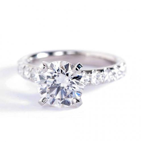 2.25 Carats VS2 F French Round Cut Diamond Engagement Ring Platinum