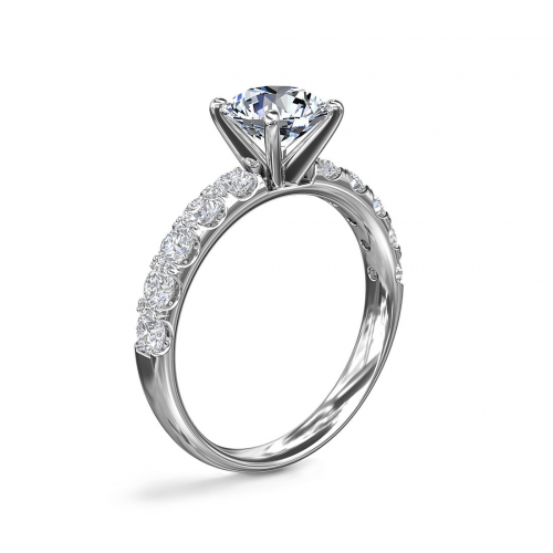 GIA Cert 1.65 Cts SI2 F French Round Diamond Engagement Ring 18K White Gold