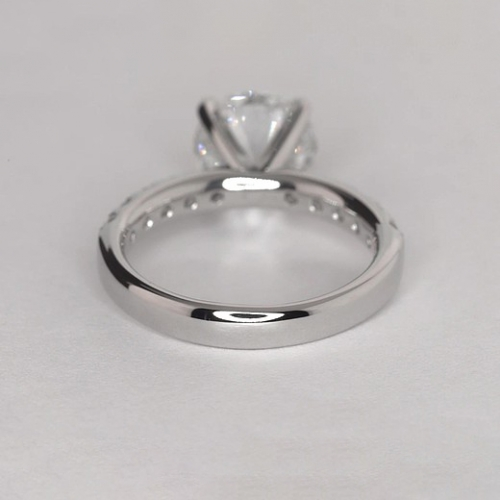 2.25 Carats SI2 D French Round Cut Diamond Engagement Ring 18K White Gold
