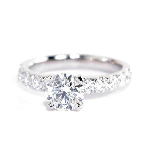 1.45 Carats SI2 D French Round Cut Diamond Engagement Ring 18K White Gold