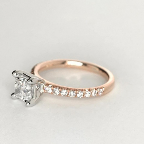 0.70 Carat VS2 F French Pave Cushion Cut Diamond Engagement Ring 18K Rose Gold