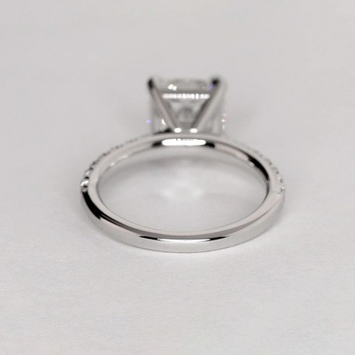 0.70 Carat SI2 F French Pave Cushion Cut Diamond Engagement Ring 18K White Gold
