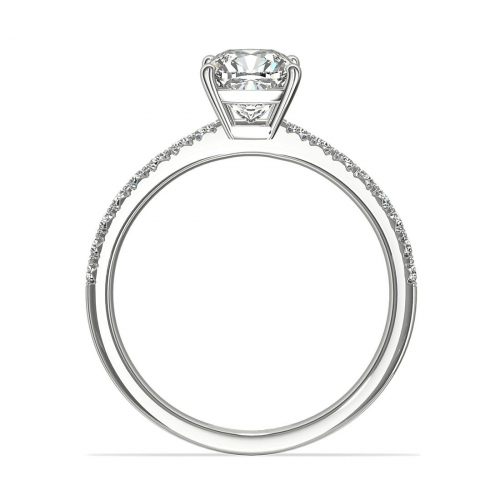 1.20 Carats SI2 F French Pave Cushion Cut Diamond Engagement Ring 18K White Gold