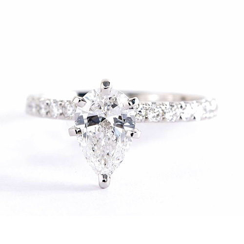 1.10 Carats SI2 F French Pave Pear Cut Diamond Engagement Ring 18K White Gold