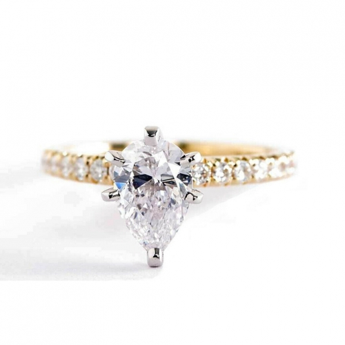 GIA Cert 0.90 Ct SI2 F French Pave Pear Diamond Engagement Ring 18K Yellow Gold