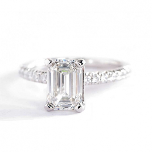 1.70 Carats SI1 H French Pave Emerald Cut Diamond Engagement Ring 18K White Gold