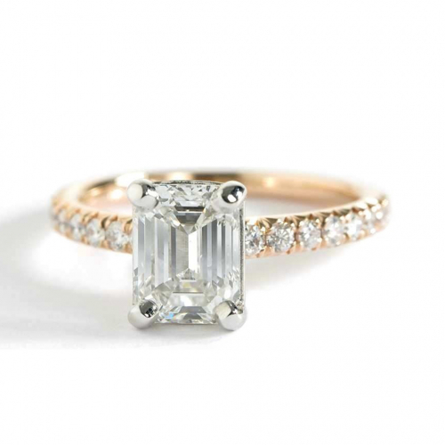 1.20 Cts SI1 H French Pave Emerald Cut Diamond Engagement Ring 18K Yellow Gold