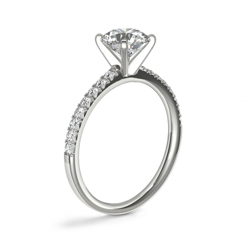 0.90 Carat SI2 F French Pave Oval Cut Diamond Engagement Ring 18K White Gold