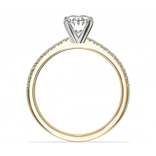1.20 Carats SI2 F French Pave Oval Cut Diamond Engagement Ring 18K Yellow Gold