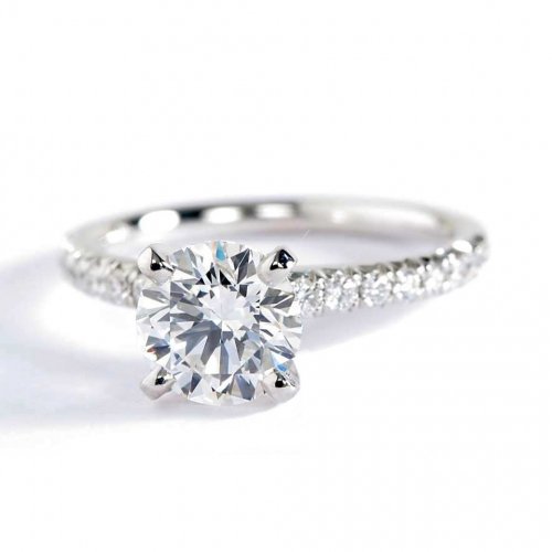 1.20 Carats VS2 F French Pave Round Cut Diamond Engagement Ring Platinum