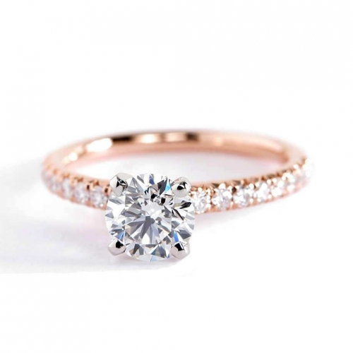 0.70 Carat SI2 D French Pave Round Cut Diamond Engagement Ring 18K Rose Gold