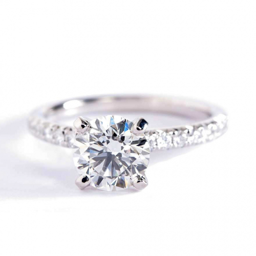 1.20 Carats SI2 D French Pave Round Cut Diamond Engagement Ring 18K White Gold