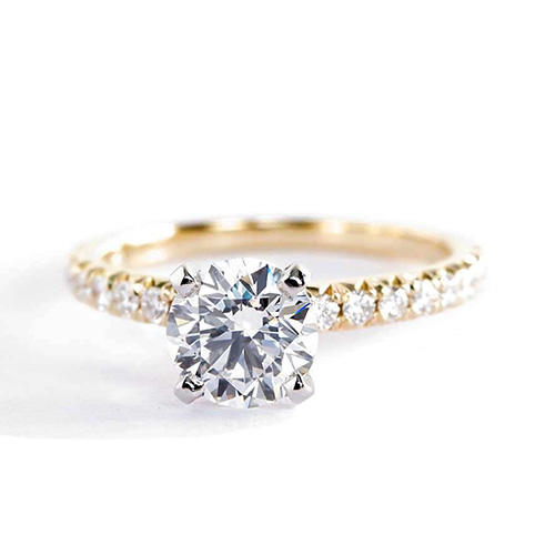 1.10 Carats SI2 D French Pave Round Cut Diamond Engagement Ring 18K Yellow Gold