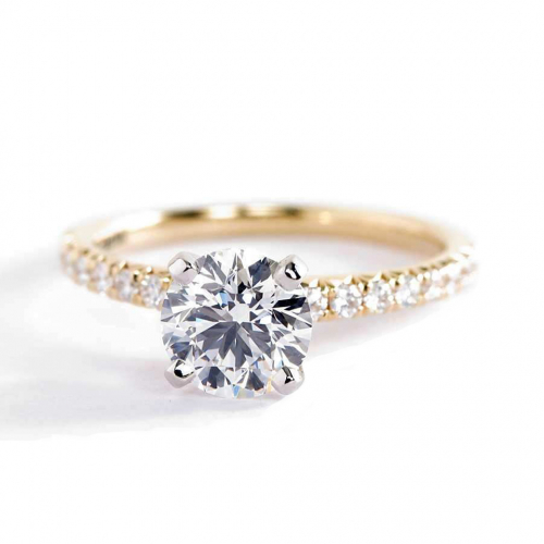 1.20 Carats SI2 H French Pave Round Cut Diamond Engagement Ring 18K Yellow Gold