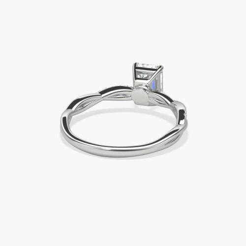 0.85 Carat SI1 F Twist Shank Emerald Cut Diamond Engagement Ring 18K White Gold
