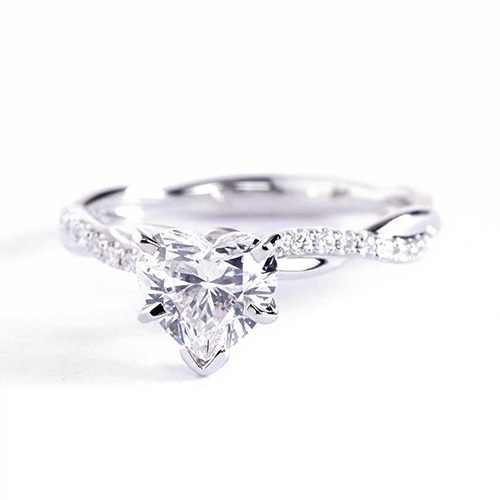 1.05 Carats SI2 D Twist Shank Heart Cut Diamond Engagement Ring 18K White Gold