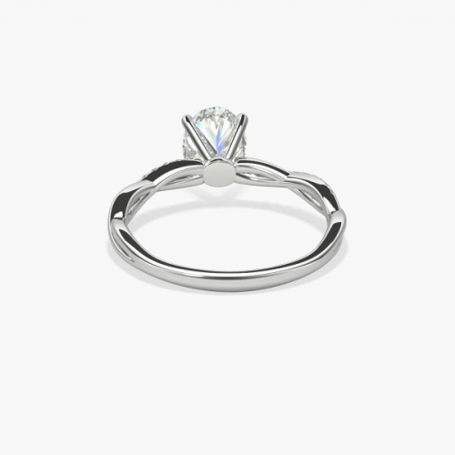 1.15 Carats SI2 F Twist Shank Oval Cut Diamond Engagement Ring 18K White Gold