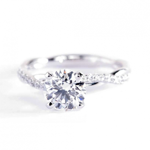 1.05 Carats SI2 D Twist Shank Round Cut Diamond Engagement Ring Platinum