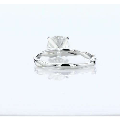 1.05 Carats SI2 D Twist Shank Round Cut Diamond Engagement Ring Platinum