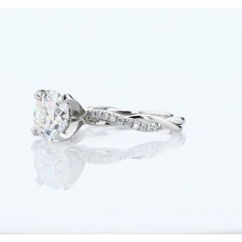 1.15 Carats SI2 F Twist Shank Round Cut Diamond Engagement Ring Platinum