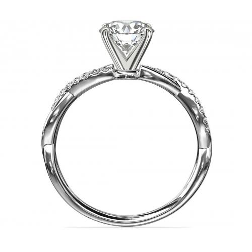 1.65 Carats VS2 F Twist Shank Round Cut Diamond Engagement Ring Platinum